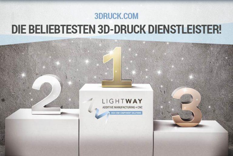 Platz 1 in 2017 und 2018 bei 3Druck.com